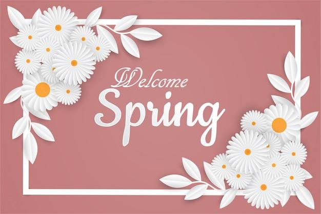 花のフレームとようこそ春レタリング