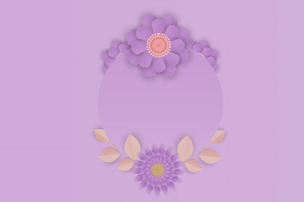 フレームの背景に紫の花の紙アート