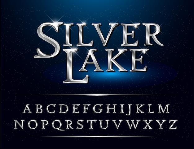 エレガントなシルバー色の金属のクロームアルファベットのフォントのセット