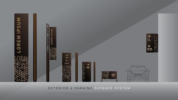 外観と駐車場標識。方向、ポール、ウォールマウント、交通機関のアイデンティティ
