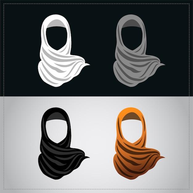 オレンジ色のヒジャブを着たイスラム教徒の女性