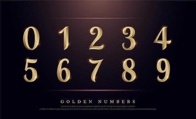 エレガントな数字ゴールド色の金属のクロムのアルファベットのフォント