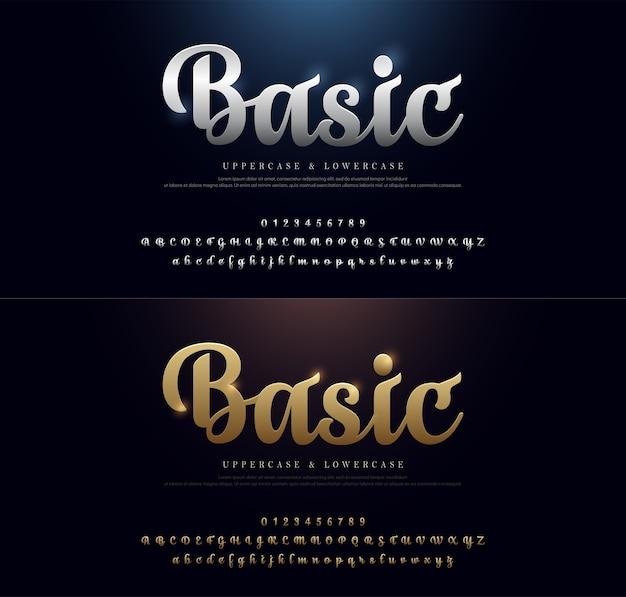 タイポグラフィクラシックスタイルの金色と銀色のロゴ用フォントセット