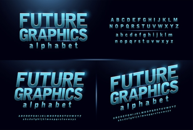 スポーツ未来の青色の輝きのモダンなアルファベットのフォント