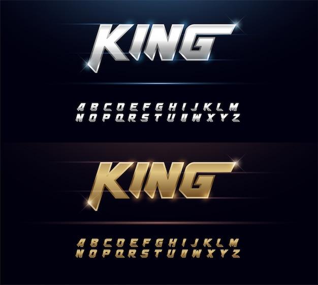 Элегантный шрифт с серебряным и золотым металлом