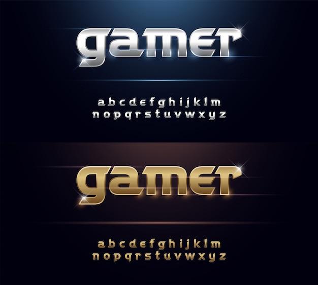 Металлический шрифт элегантный серебряный и золотой хром-алфавит