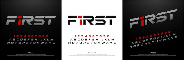 スポーツ現代のアルファベットのフォント。技術タイポグラフィ