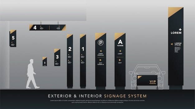 外装と内装の看板や交通標識