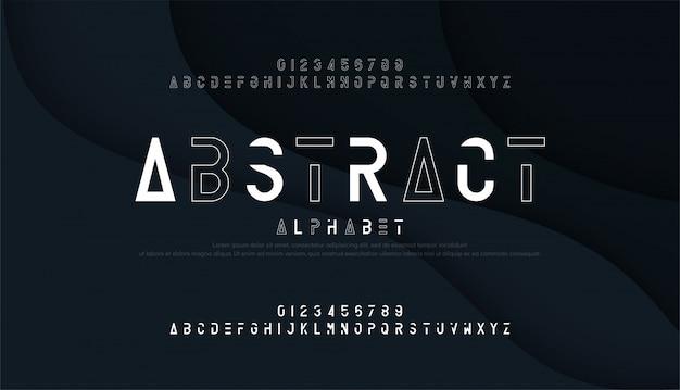 Абстрактный тонкая линия шрифт и цифры минимальный алфавит