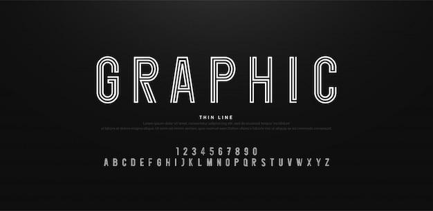 Современный минимальный алфавит, тонкие линии шрифтов и цифр
