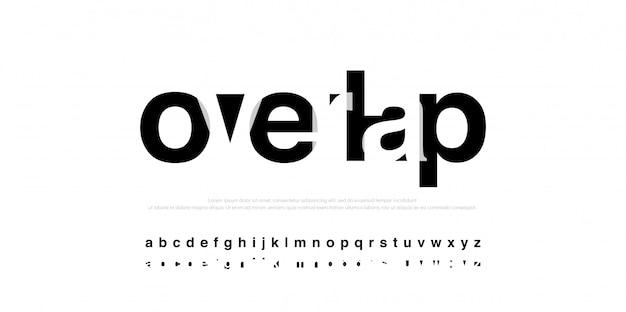活版印刷のモダンなアルファベットフォントオーバーラップスタイル