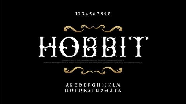 ヴィンテージエレガントなアルファベット文字セリフフォントセット