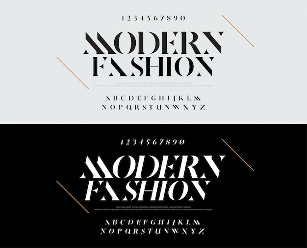 Элегантный шрифт букв алфавита. типография моды