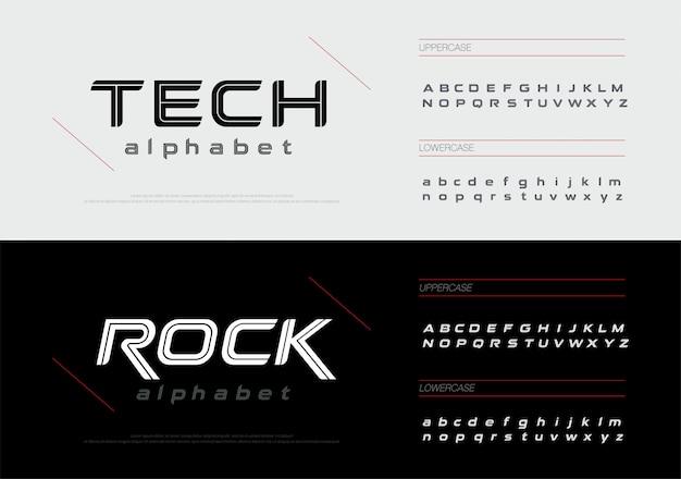 スポーツ技術のアルファベット文字フォントセット。
