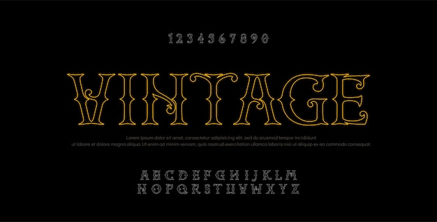 ヴィンテージのエレガントなアルファベットライン文字サンセリフ