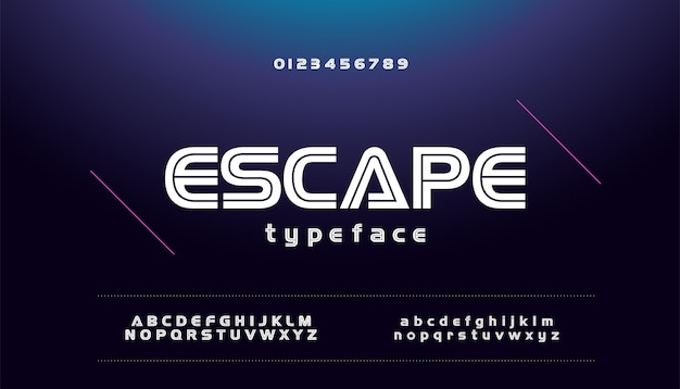 現代のスポーツ技術のゲーム都市フォントのアルファベット