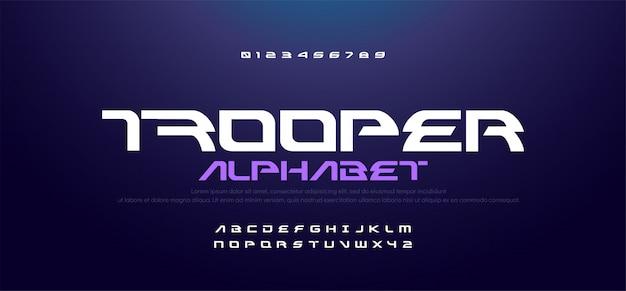 スポーツ現代技術のアルファベットと数字のフォント