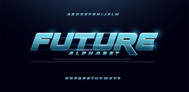 スポーツ未来青い輝きモダンなイタリック体のアルファベットのフォント