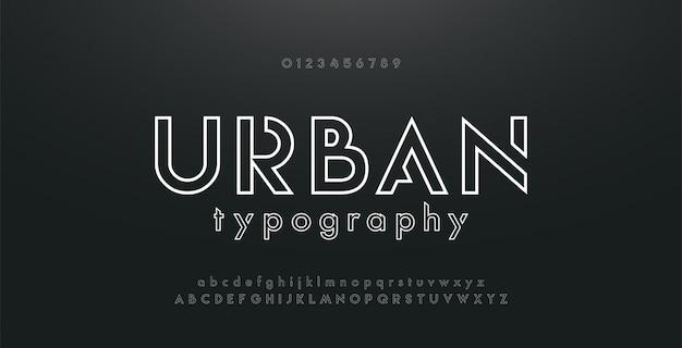 抽象的な都市細い線ネオンフォント現代アルファベット