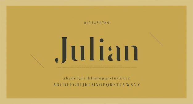 エレガントなクラシックアルファベット文字フォントと番号