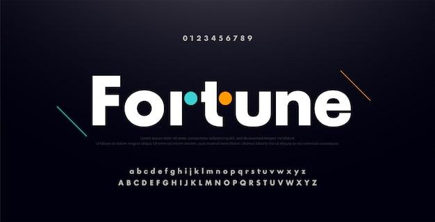 都市の現代未来の創造的なアルファベットのフォント、番号