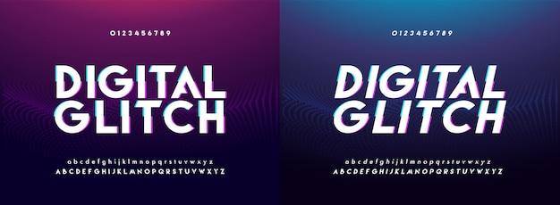 抽象的なグリッチデジタルアルファベットのフォントと番号