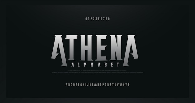 ロックセリフ現代アルファベットフォント。ロック、音楽、ゲーム、未来、創造的、抽象的なデザインのフォントと番号のタイポグラフィ