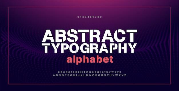 抽象的な現代アルファベットフォントと数字。タイポグラフィ電子デジタルゲーム音楽未来創造都市フォントデザインコンセプト