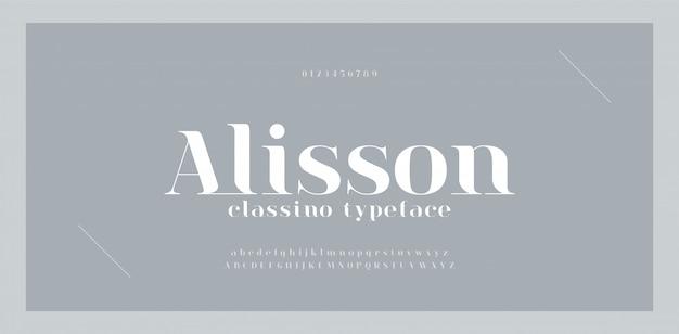エレガントで素晴らしいアルファベット文字のフォントと番号。古典的なレタリング最小限のファッションデザイン。通常の大文字と小文字のタイポグラフィフォント