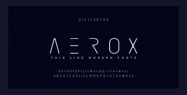 抽象的な細い線フォントアルファベット。最小限のモダンなフォントと数字。