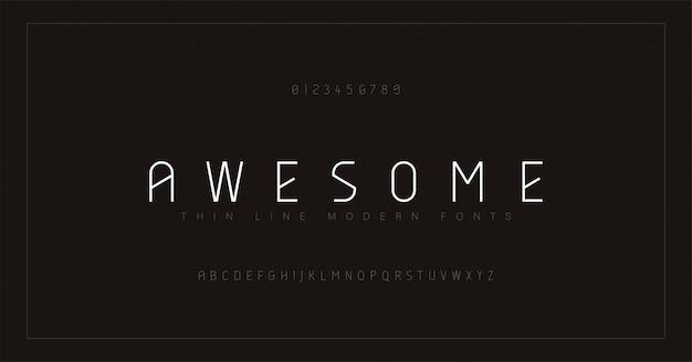 抽象的な細い線フォントアルファベット