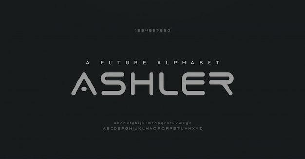 デジタル抽象的な現代アルファベットのフォントと数