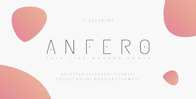 抽象的な細い線フォントアルファベット。最小限のモダンなフォントと数字。タイポグラフィ書体の大文字小文字と数字。