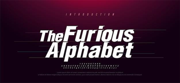 Спорт современный курсив алфавит шрифт. типография быстрых и яростных шрифтов