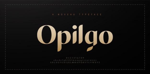 Элегантный алфавит буквы шрифта и числа. классические медные надписи минимальный дизайн одежды. типографские шрифты обычные прописные и строчные