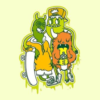 Мультяшный персонаж красочный вектор для дизайна футболки