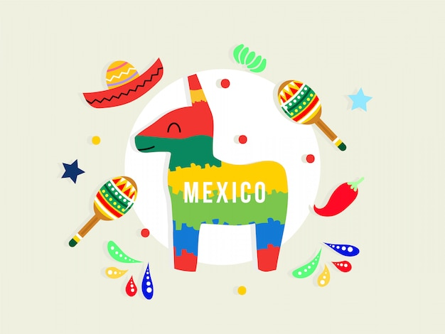 Синко де майо с фоном орнамента пината