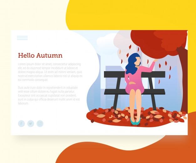 Шаблон целевой страницы с приветственной осенью