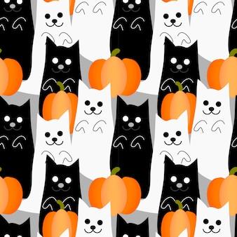 かわいいハロウィーンの猫ゴーストシームレスパターン。
