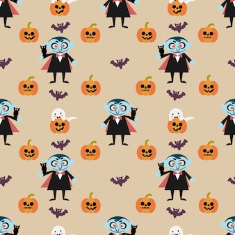 吸血鬼とハロウィンのカボチャのシームレスなパターン