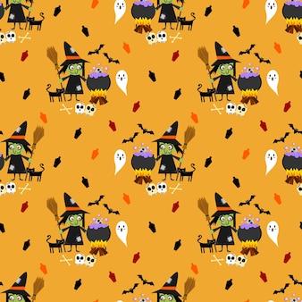 ハロウィン魔女とゴーストシームレスパターン