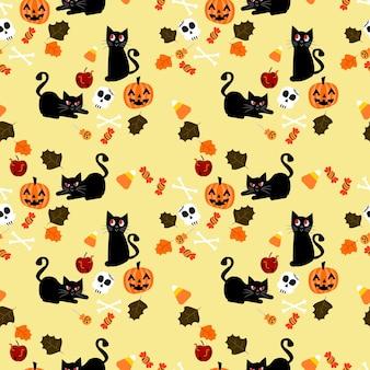 かわいい黒い猫とハロウィンの要素のシームレスなパターン。