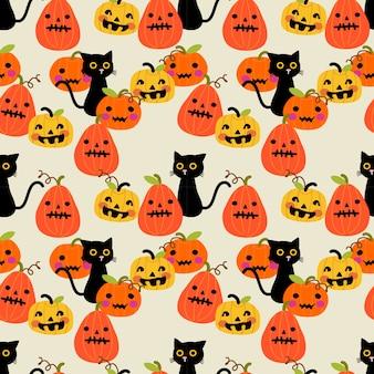 かわいい黒い猫とハロウィーンのカボチャのシームレスなパターン。