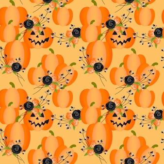 ハロウィーンのカボチャと花のシームレスなパターン。