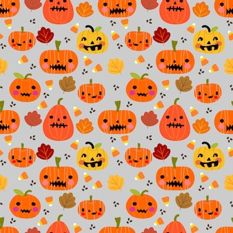 かわいいハロウィンのカボチャと葉シームレスなパターン。