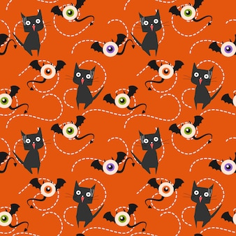 ハロウィンモンスターと猫のシームレスなパターン。