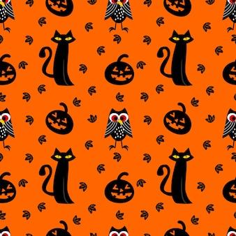 ハロウィーンの黒い猫とフクロウのシームレスなパターン。