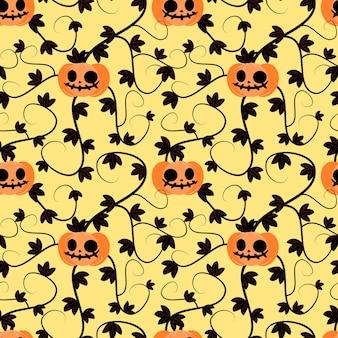 ハロウィーンのカボチャ植物シームレスパターン。