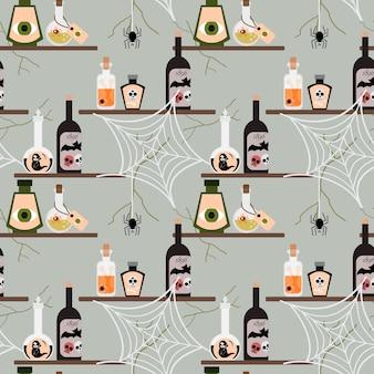 ハロウィーンの毒ボトルのシームレスなパターン。