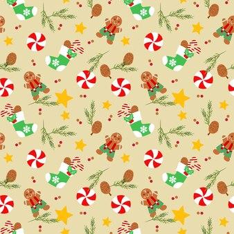 クリスマスソックスとジンジャーブレッドマンシームレスパターン。